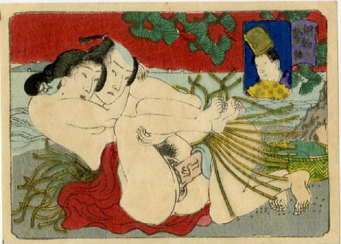 Utagawa School - 1830's original shunga woodblock E