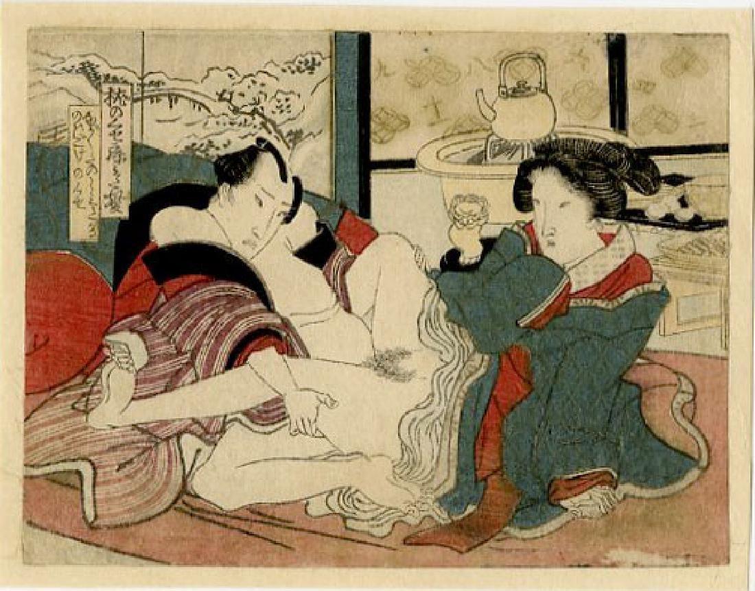 Utagawa School - 1830's original shunga woodblock F
