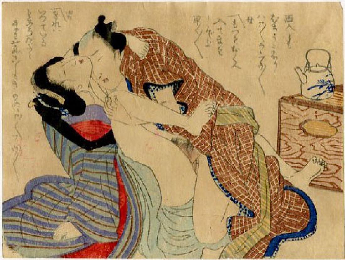 Utagawa School - 1830's original shunga woodblock G