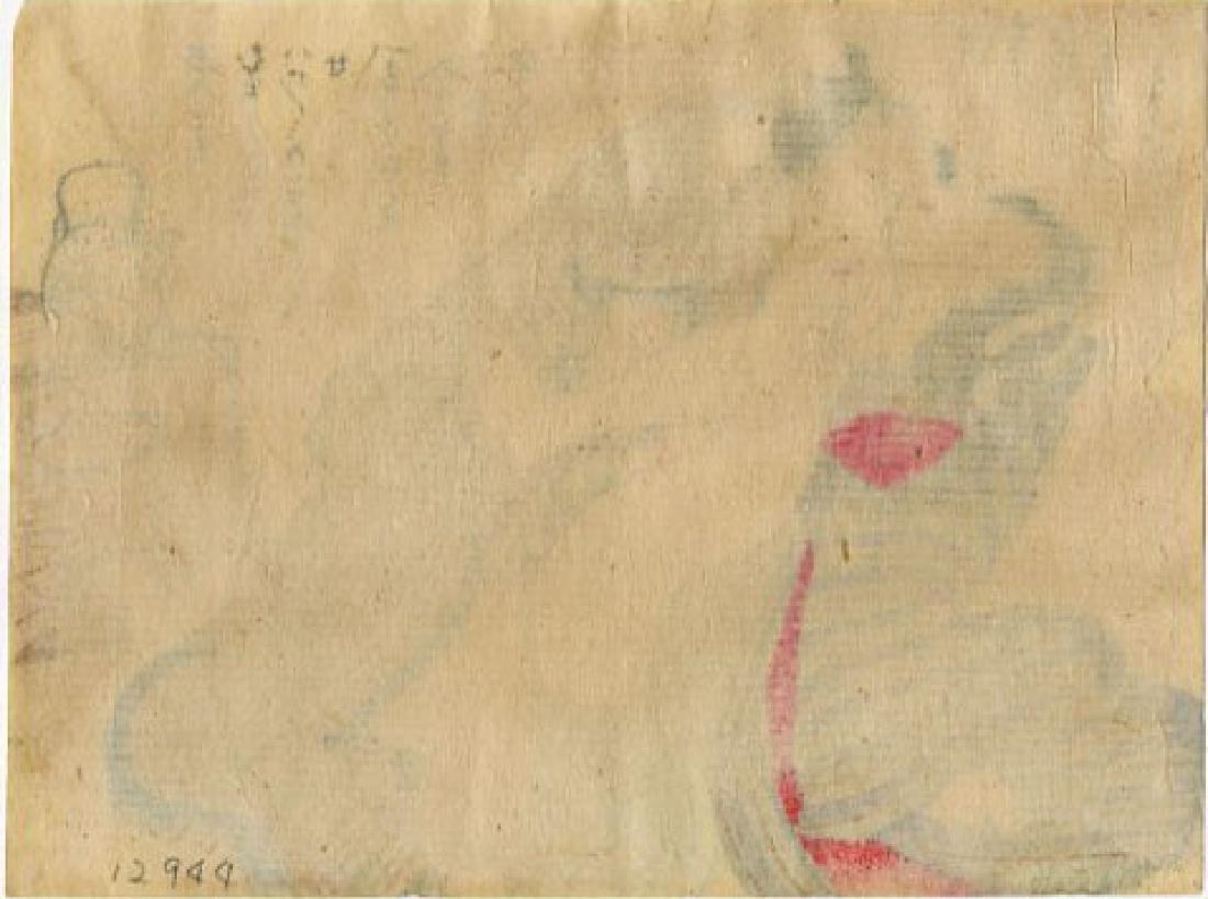 Utagawa School - 1830's original shunga woodblock G - 2