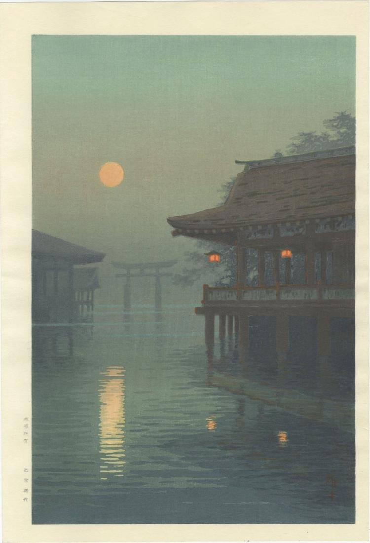 Ito Yuhan - Moon Over Miyajima  woodblock