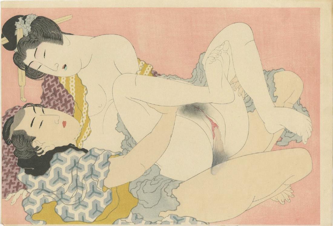 Hokusai - The Adonis Plant shunga woodblock