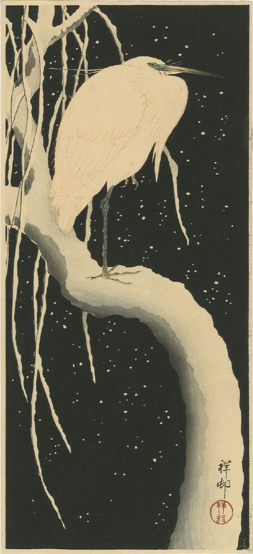Ohara Koson - Egret on Snowy Branch  woodblock Pre-EQ