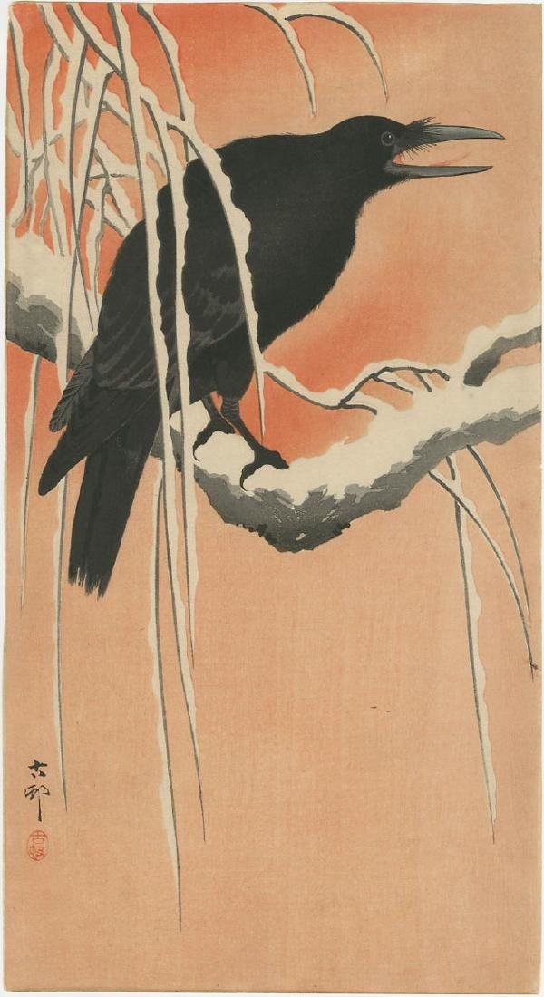 Ohara Koson - Crow on Snowy Branch woodblock Pre-EQ