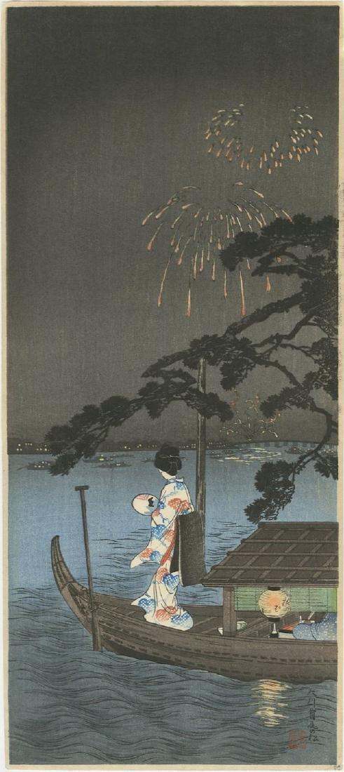 Shotei Takahashi - Fireworks at Shubinomatsu  woodblock