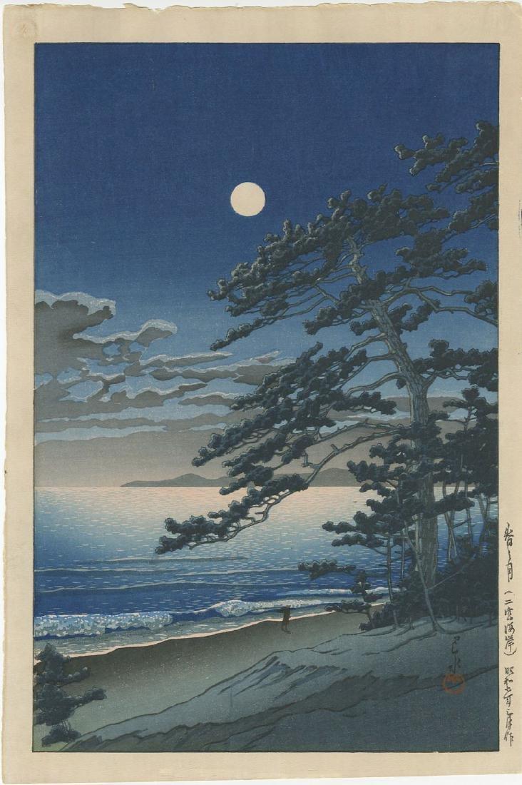 Kawase Hasui - Spring Moon at Ninomiya Beach woodblock