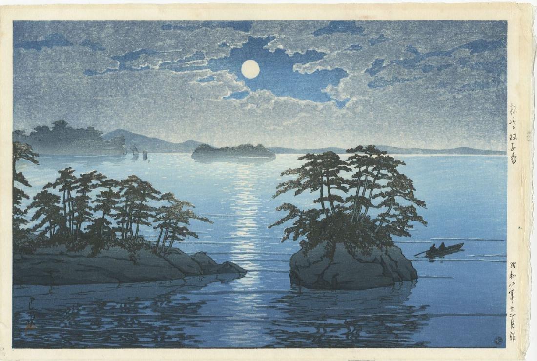 Kawase Hasui - Moonrise at Futago Matsushima woodblock