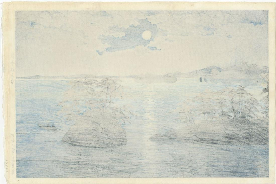 Kawase Hasui - Moonrise at Futago Matsushima woodblock - 2