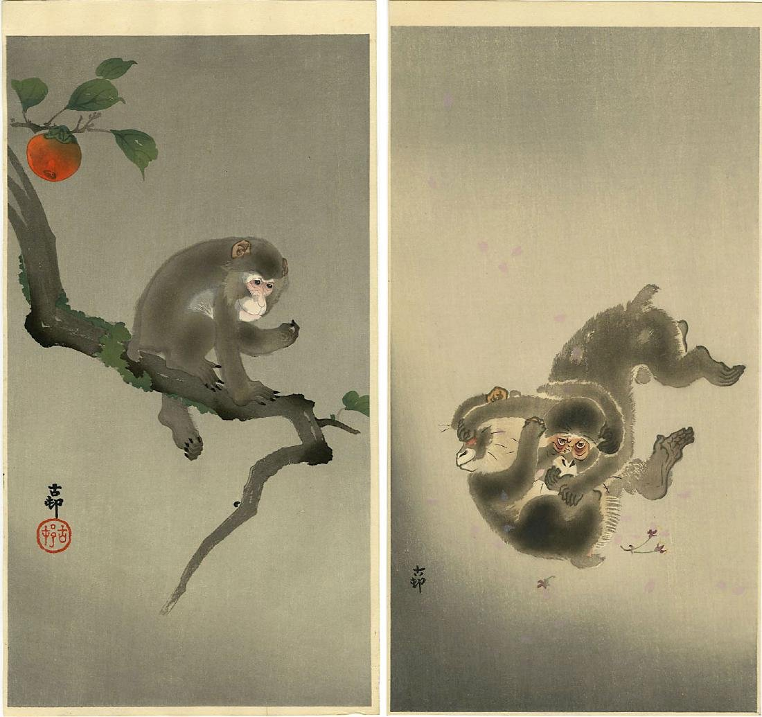 Koson Ohara: Two Monkey Themed Woodblocks