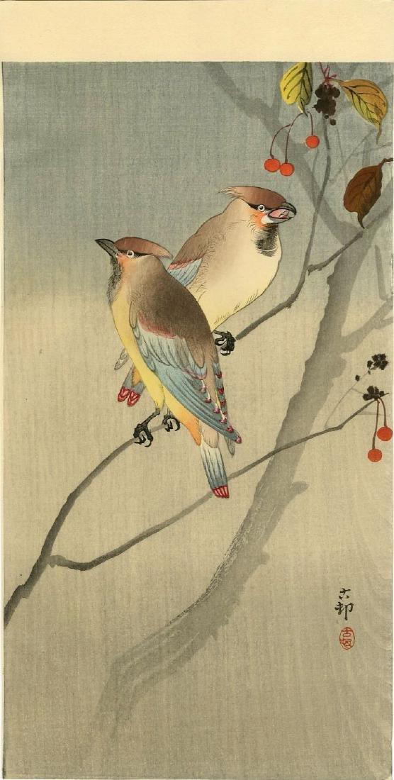 Koson Ohara: Japanese Waxwings Woodblock