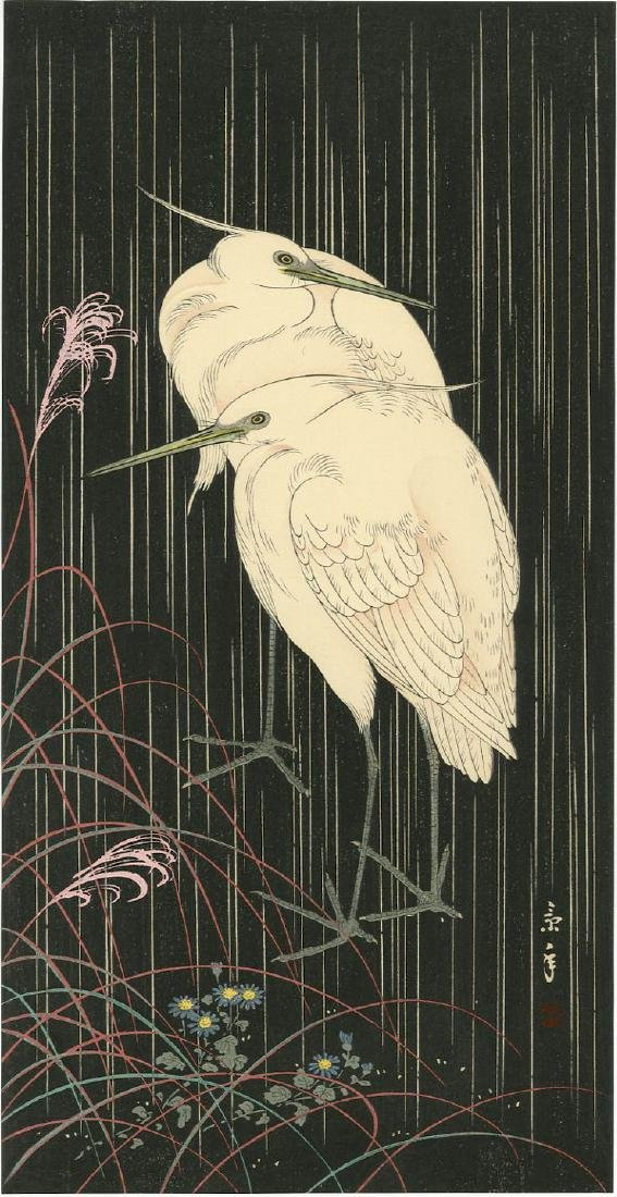 Keinen Imao: Egrets in Rain at Night woodblock
