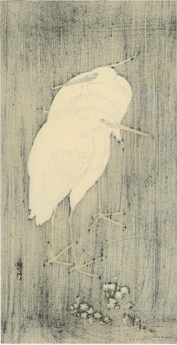 Keinen Imao: Egrets in Rain at Night woodblock - 2
