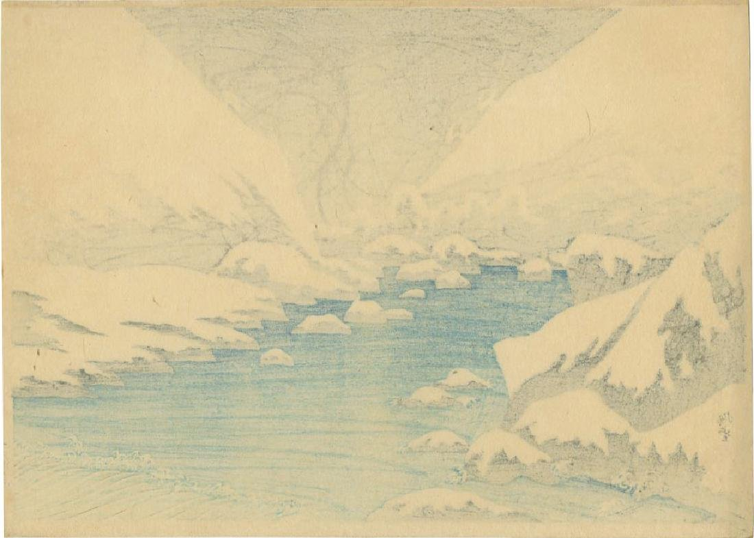 Narazaki Eisho: Snow on Futagawa River woodblock 1920s - 2