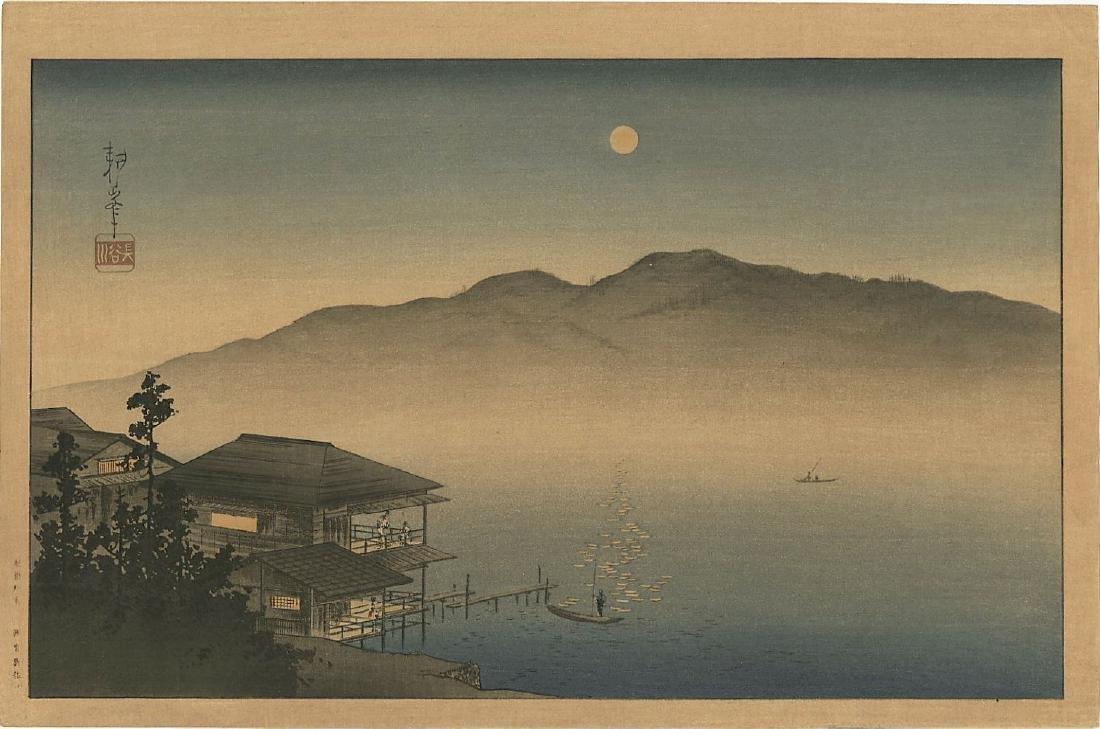 Koho Shoda: Lakeside Inn in Moonlight woodblock