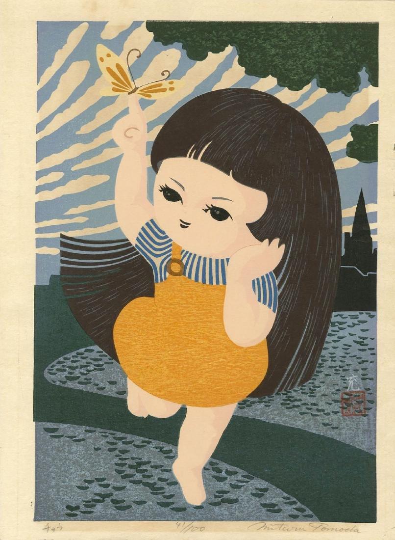 Tomoda Mitsuru: Butterfly Girl woodblock c. 1980