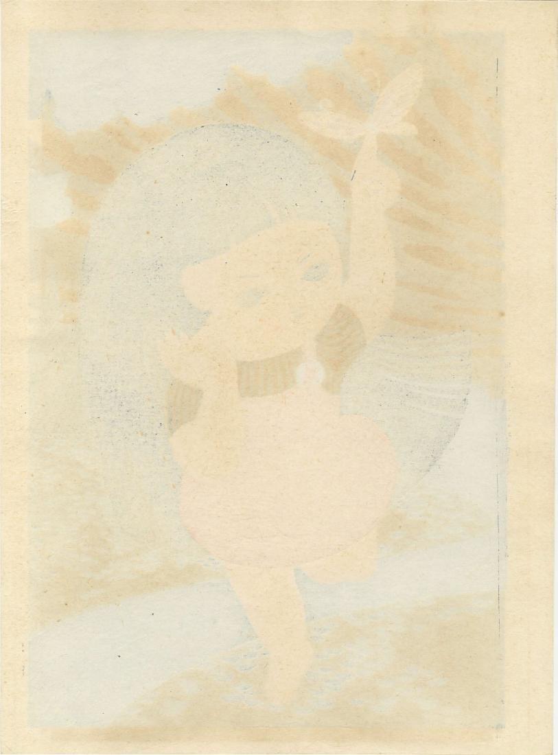 Tomoda Mitsuru: Butterfly Girl woodblock c. 1980 - 2