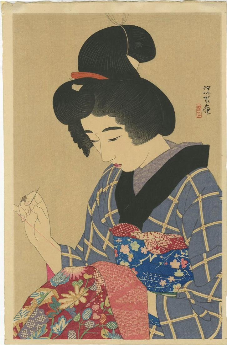 Shinsui Ito: Woman Sewing woodblock 1930 1st Edition