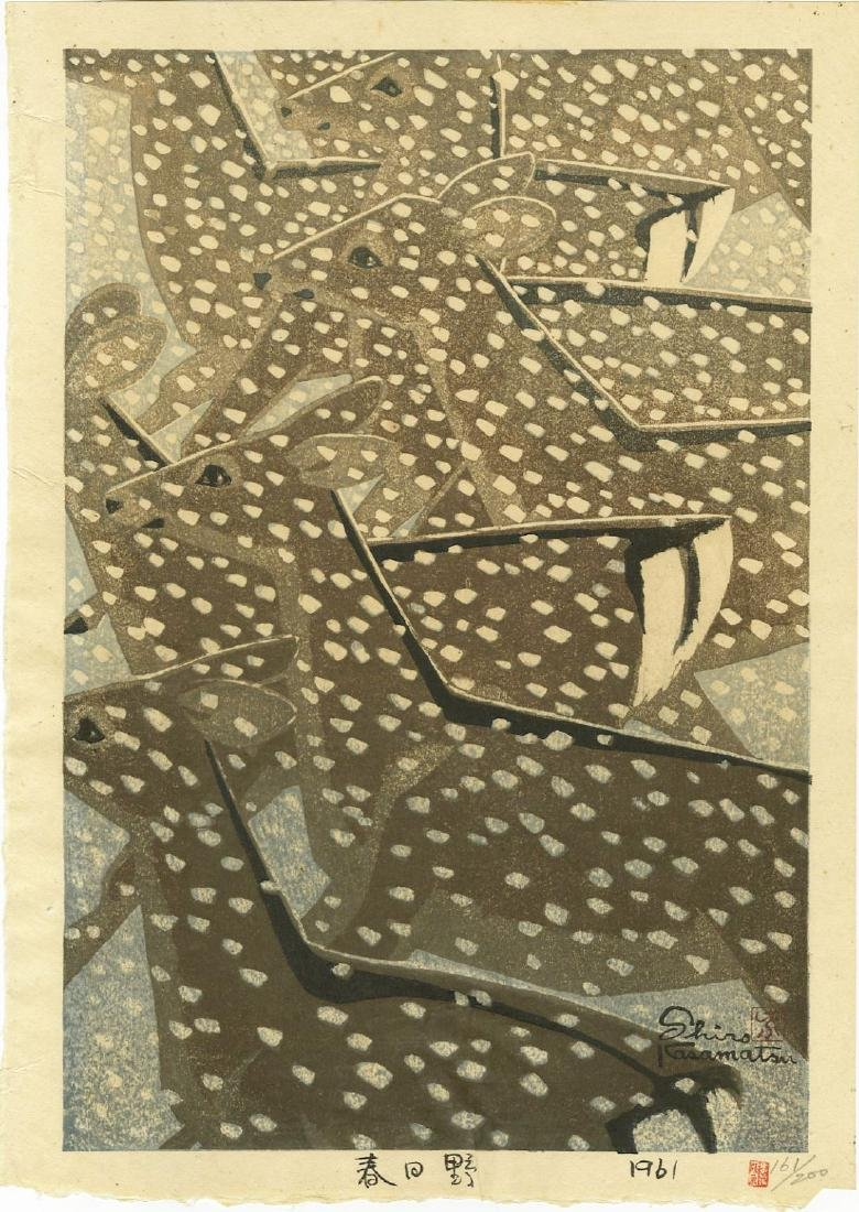Kasamatsu: A Herd of Deer in Snow woodblock 1st Ed 1961