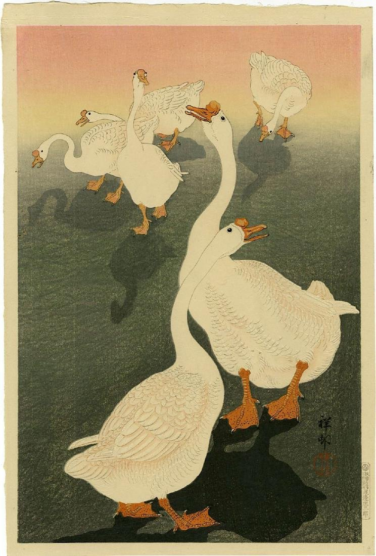 Koson: Geese at Sunset Woodblock Lifetime Ed. 1930s