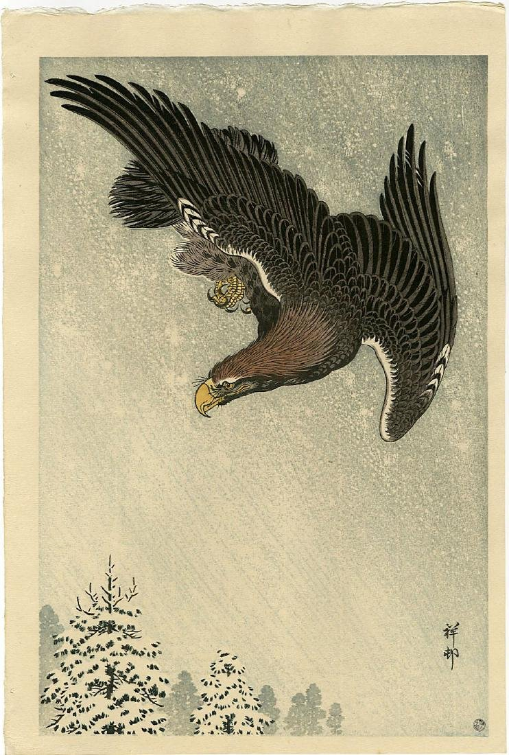 Koson Ohara: Eagle Flying in a Snow woodblock 6mm seal