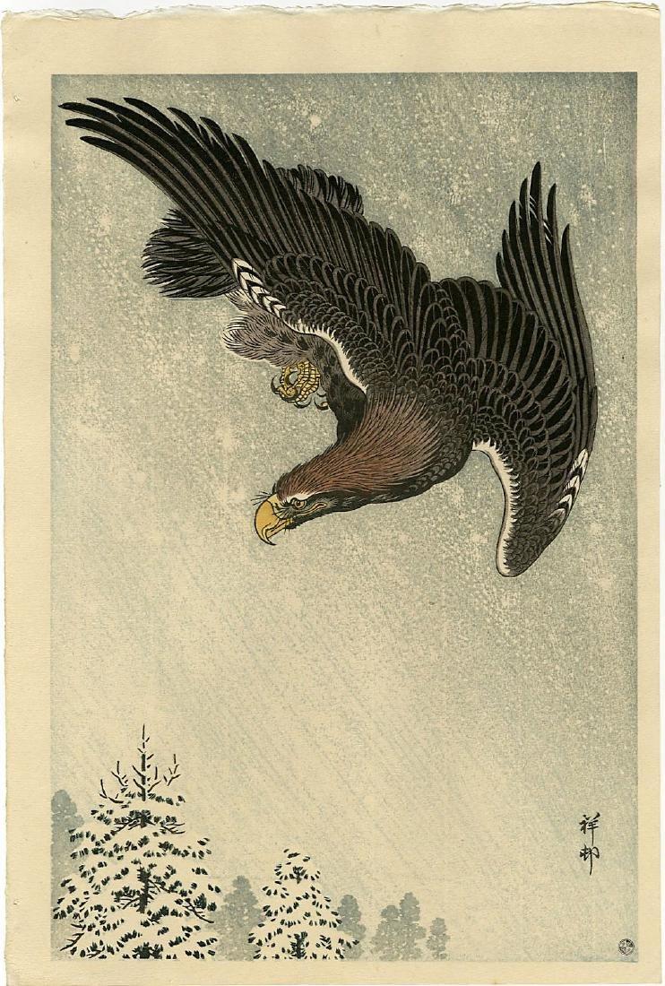 Koson Ohara: Eagle Flying in a Snow woodblock 6mm seal
