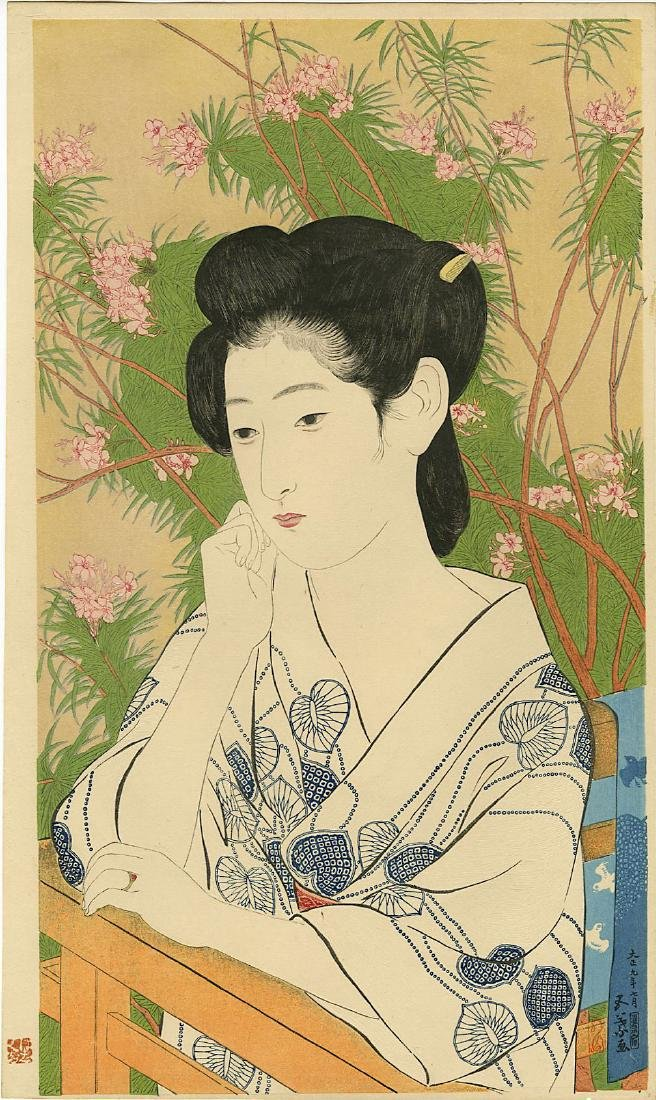 Goyo Hashiguchi: Beauty At Spa woodblock 1st Ed. 1920