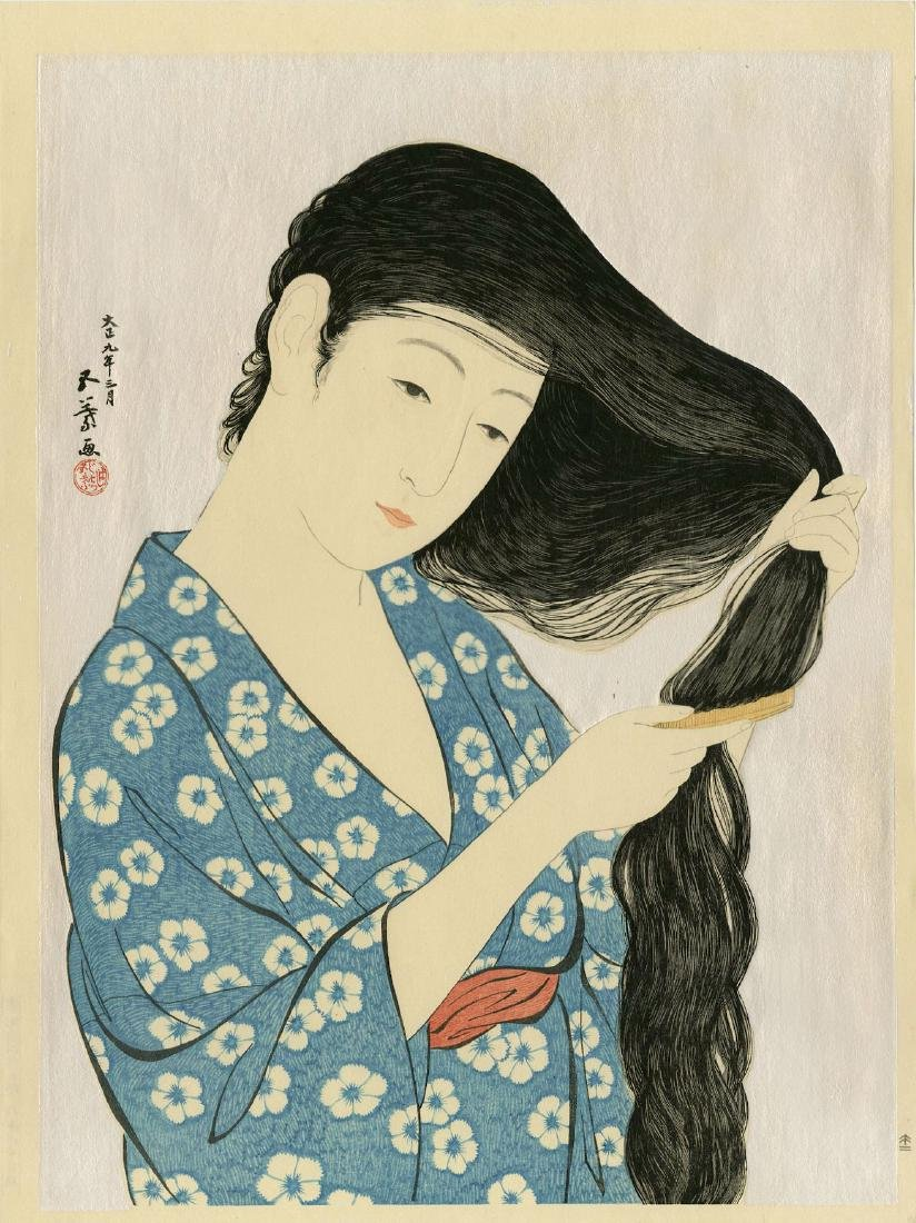 Goyo Hashiguchi: Woman Combing Her Hair woodblock