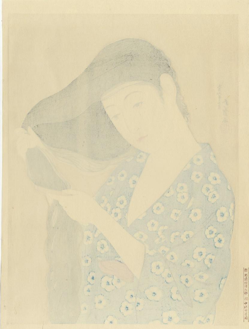Goyo Hashiguchi: Woman Combing Her Hair woodblock - 2