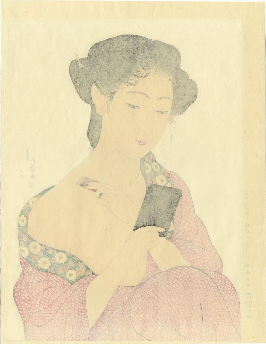 Goyo Hashiguchi: Woman Applying Powder woodblock - 2