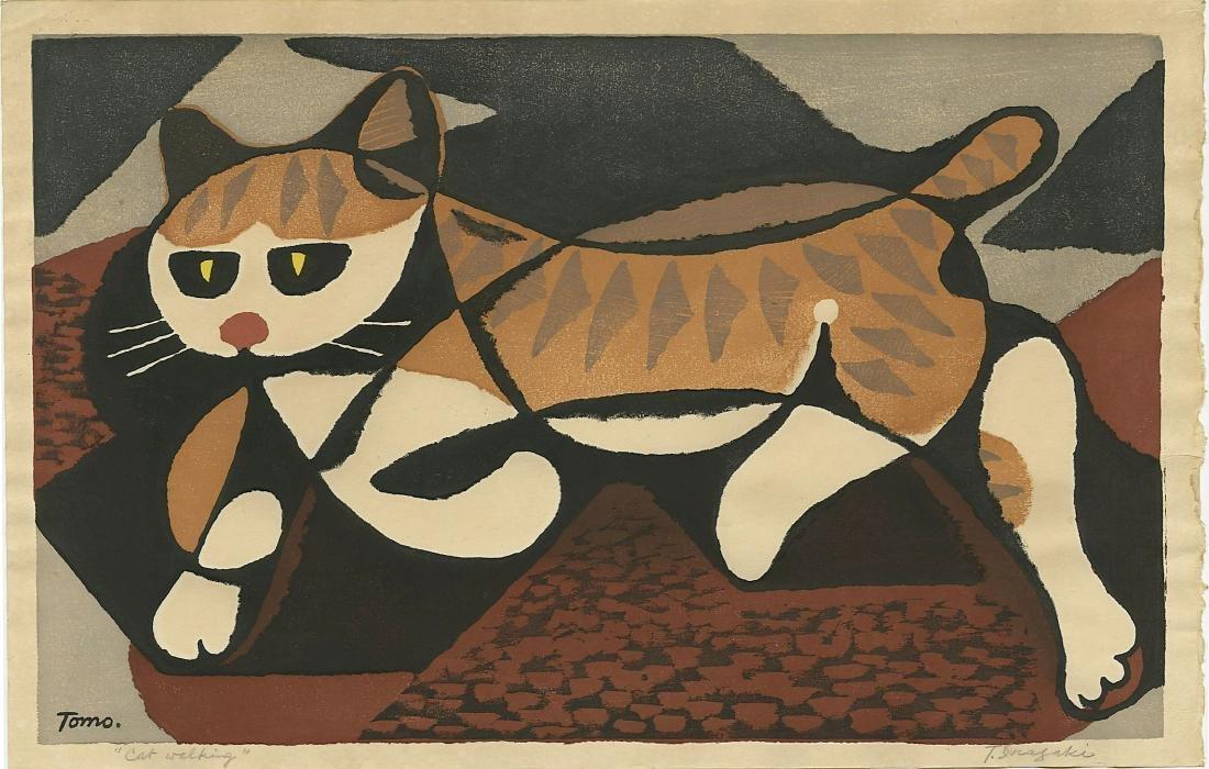 Tomoo Inagaki: Cat Walking woodblock 1970