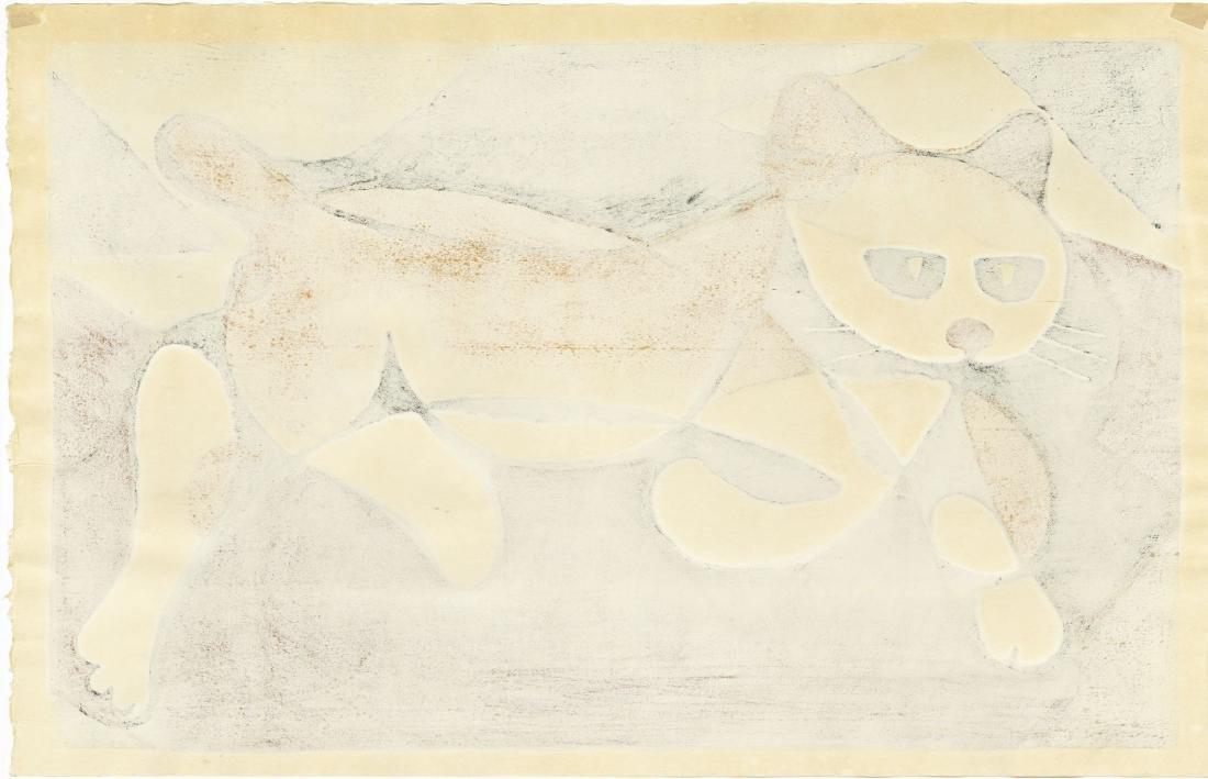 Tomoo Inagaki: Cat Walking woodblock 1970 - 2