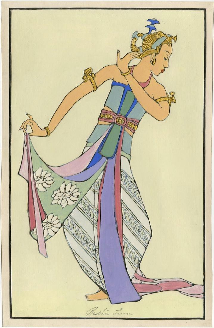 Bertha Lum: Balinese Dancer Raised Line Print 1st Ed.