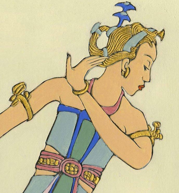 Bertha Lum: Balinese Dancer Raised Line Print 1st Ed. - 3