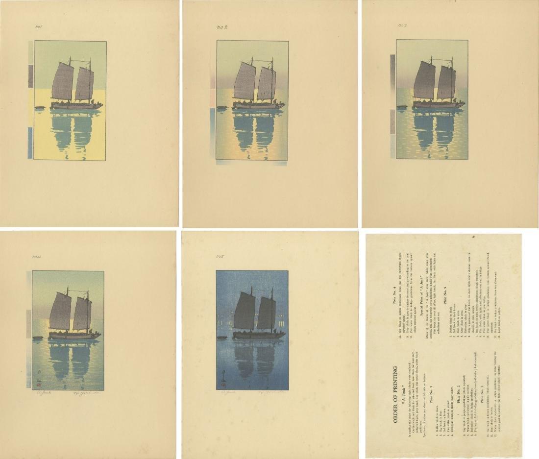 Yoshida Hiroshi: A Junk (1-5) woodblock 1st Ed. 1939