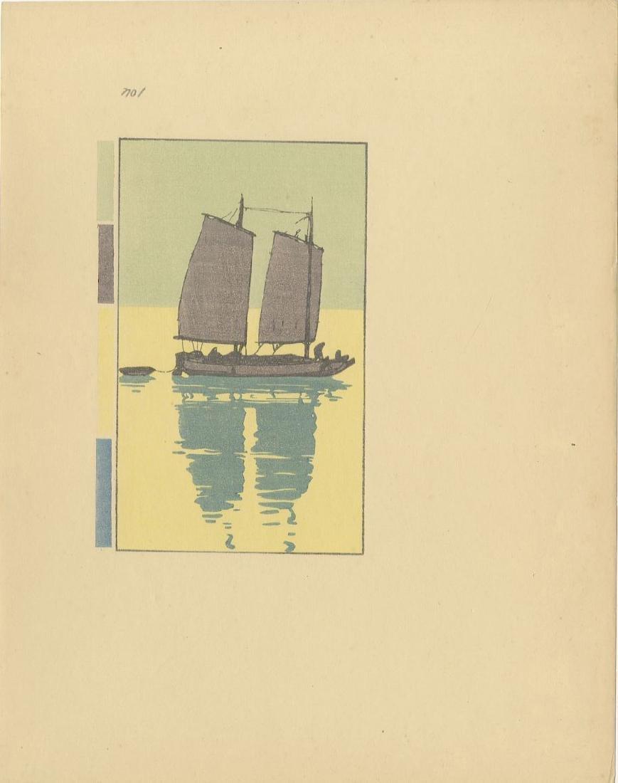 Yoshida Hiroshi: A Junk (1-5) woodblock 1st Ed. 1939 - 2