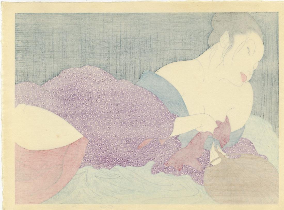 Yoshio Okada: In the Bedroom woodblock 1st Ed. 1974 - 2