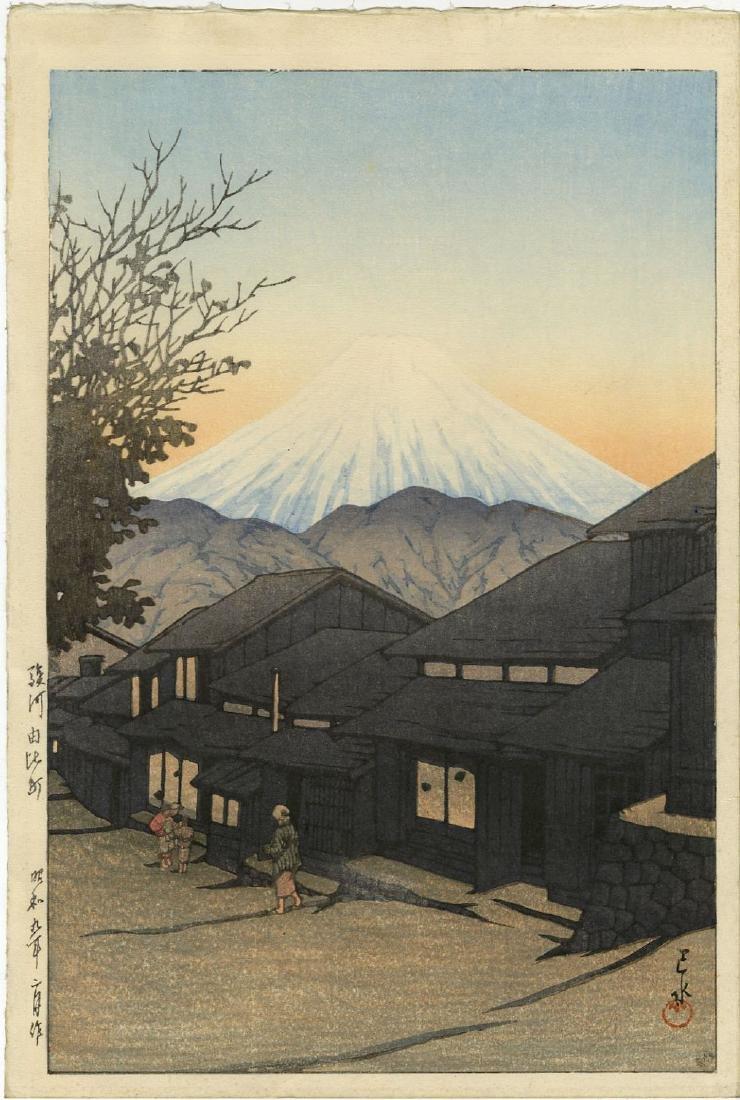 Hasui: Mt Fuji from Yimachi woodblock 6mm Lifetime Ed.