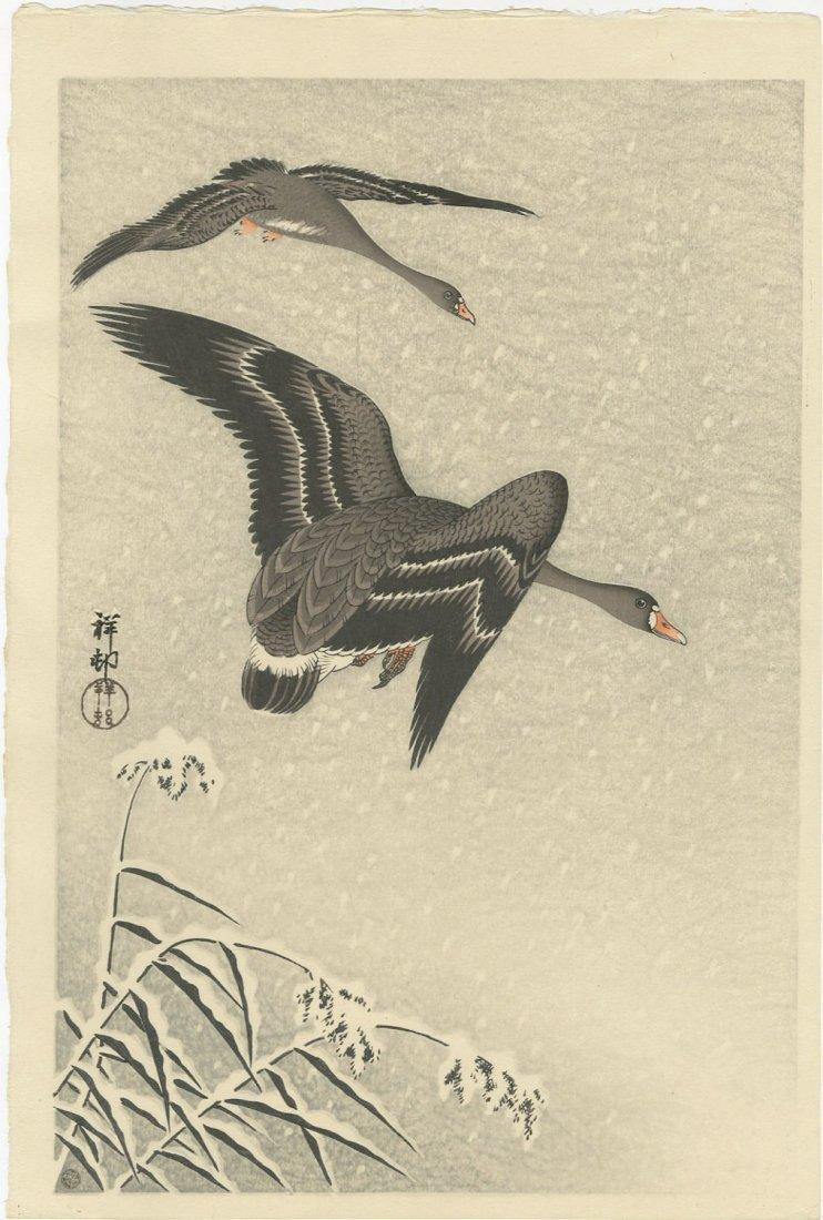 Ohara Koson - Geese in Snowstorm 6mm 1931 woodblock