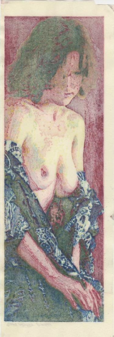 Mike Lyon - Bijin (Cranberry version) 2003 woodblock - 2