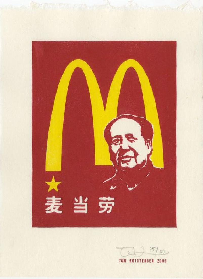 Tom Kristensen - M is for Mao #65/100 woodblock 2006