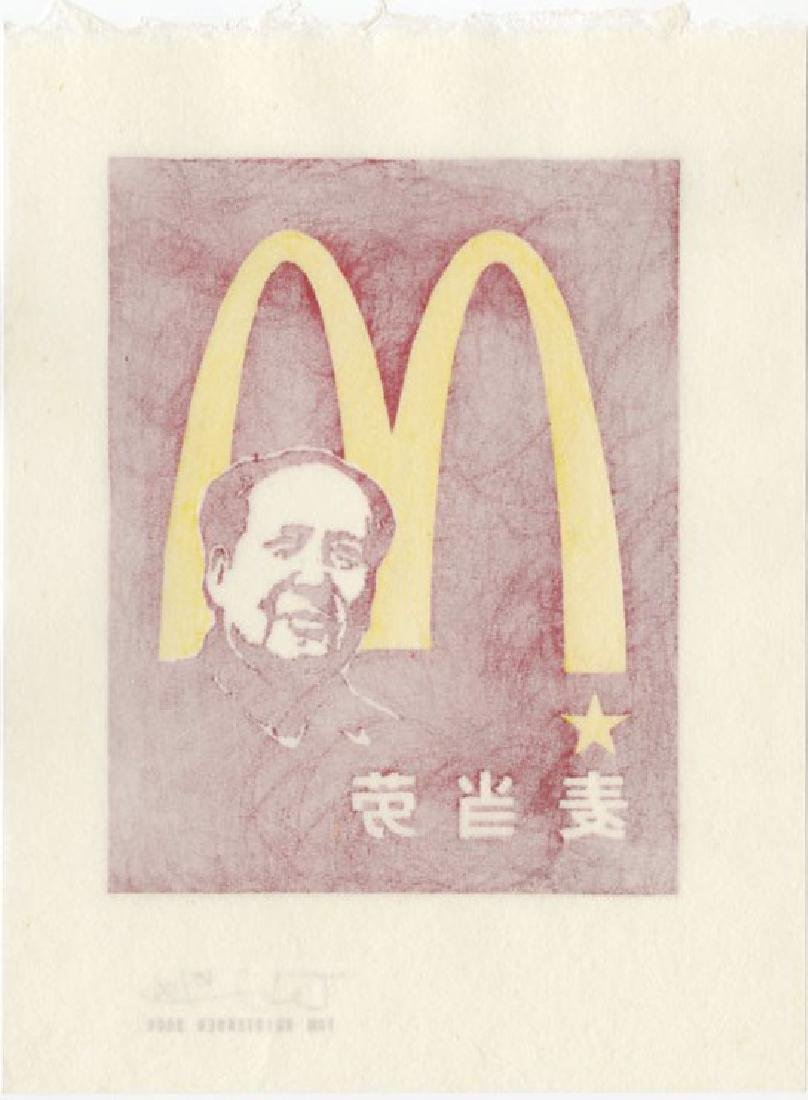 Tom Kristensen - M is for Mao #65/100 woodblock 2006 - 2