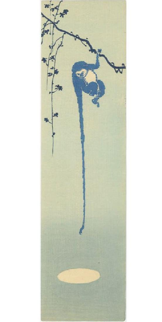 Unsigned - Monkey Reaching for the Moon woodblock