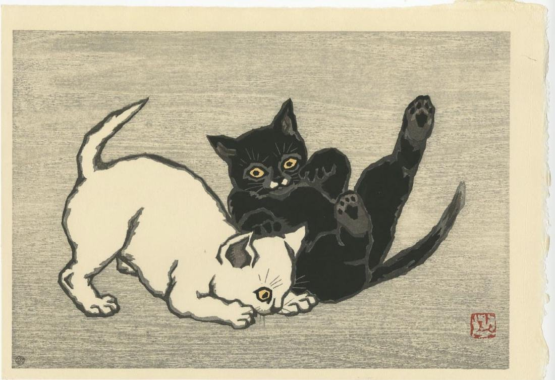 Natori Shunsen - Two Kitten Playing #89/250 woodblock