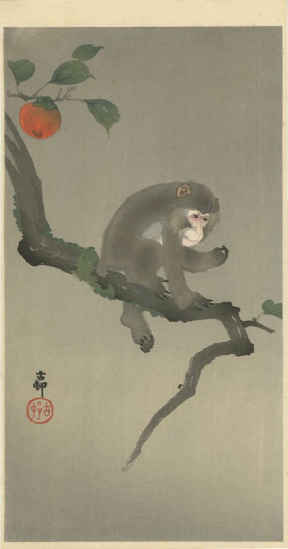 Ohara Koson - Monkey in Persimmon Tree Muller woodblock