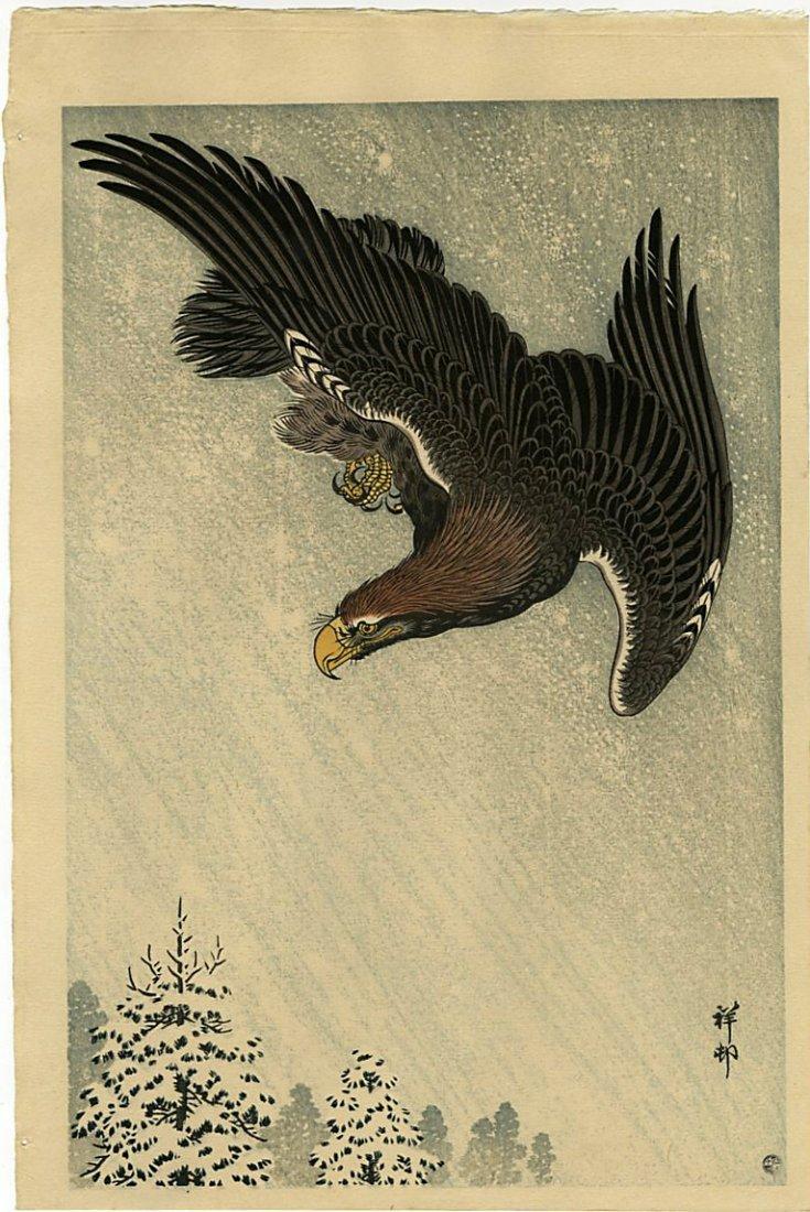 Koson Ohara: Eagle Flying Snow 1933 Woodblock 6mm Ed.