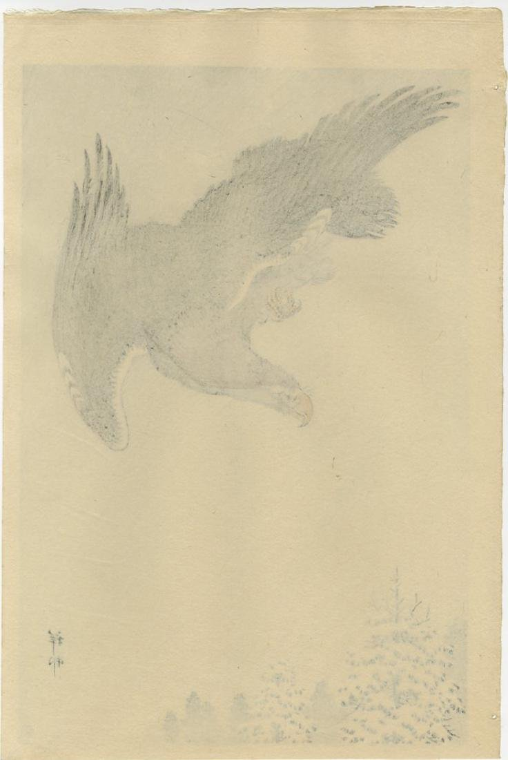 Koson Ohara: Eagle Flying Snow 1933 Woodblock 6mm Ed. - 2
