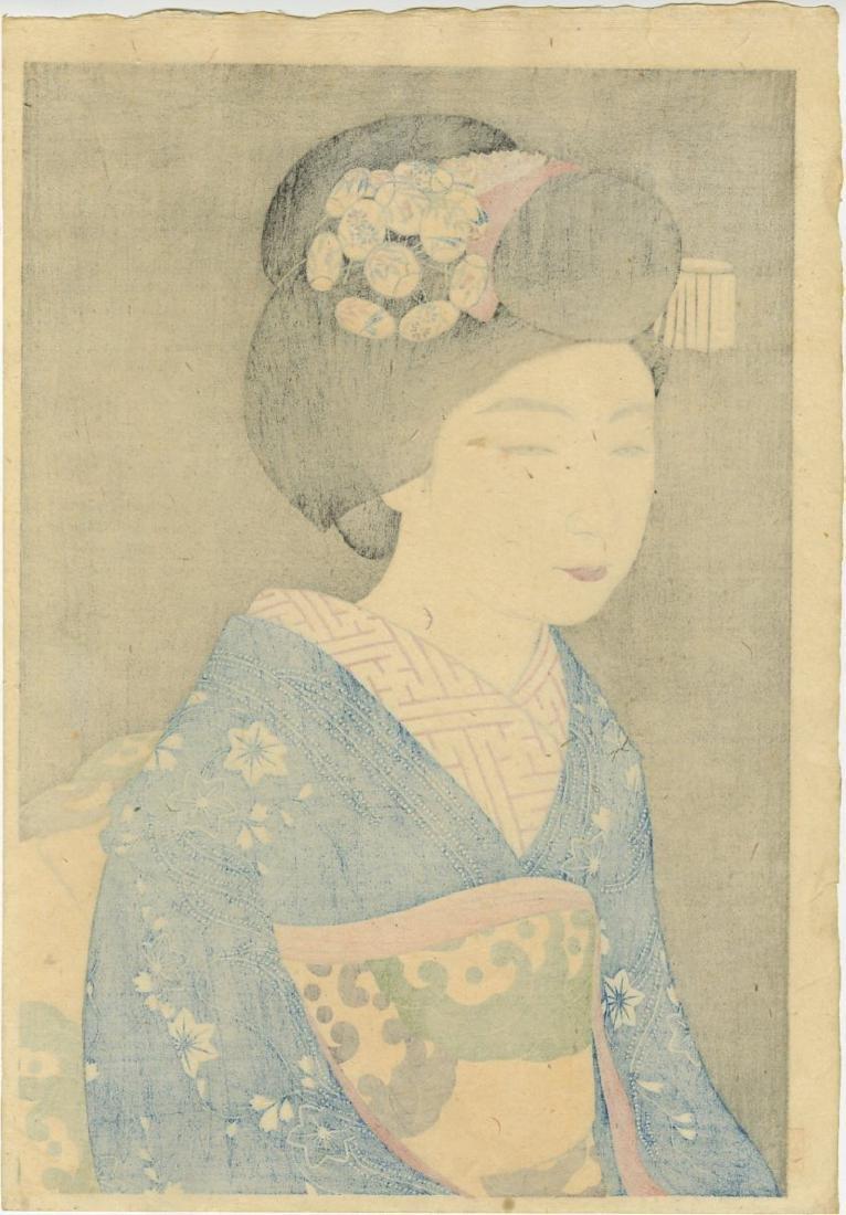 Kanpo Yoshikawa: Geisha Hinazo 1922 Woodblock 1st Ed. - 2