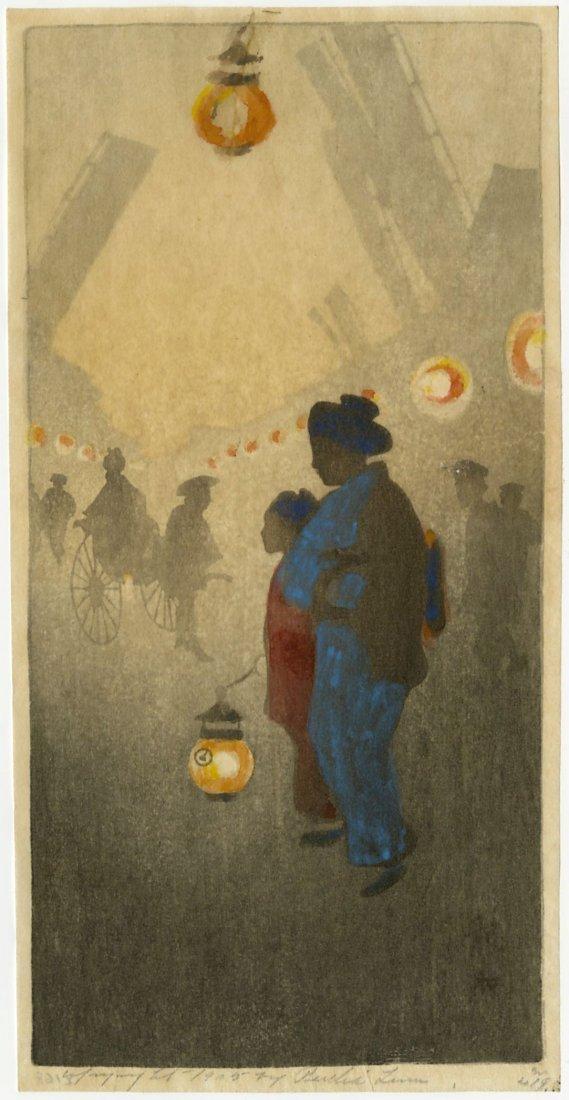 Bertha Lum: Theatre Street 1905 Woodblock 1st Edition