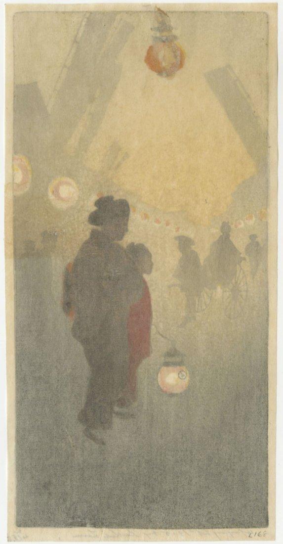 Bertha Lum: Theatre Street 1905 Woodblock 1st Edition - 4