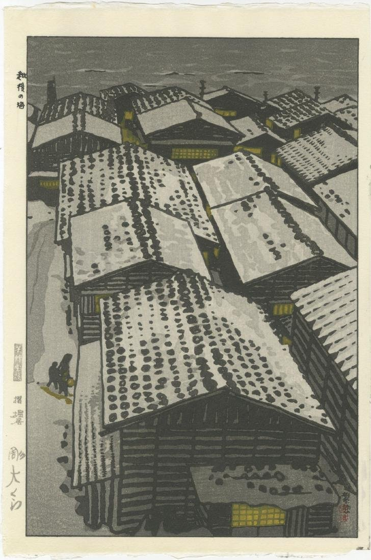 Shiro Kasamatsu - Sea at Echigo (Snowy Roofs) woodblock